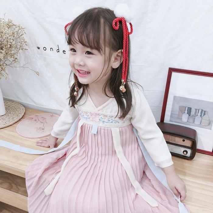 女童時尚漢服秋復古童裝寶寶中國風唐裝古裝襦裙兒童民族風連衣裙