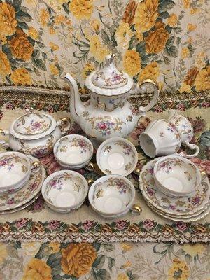 德國老件🇩🇪Bavaria 半手繪茶壼15件組D64