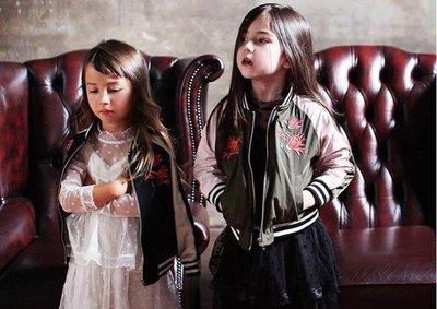 女童外套   女童夾克外套公主韓版飛行刺繡夾棉加厚潮兒童棒球服