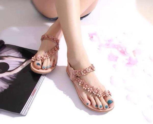 格子舖*【AA577】限時一檔 特價299元 春夏韓版 女神必敗款 花朵鬆緊繞踝夾腳套指涼鞋
