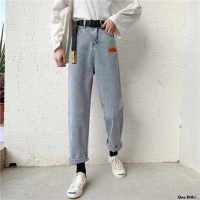 One fifth◊ .. [S-5XL]新品大碼牛仔褲女學生直筒寬鬆舒適老爹闊腿褲潮QC230