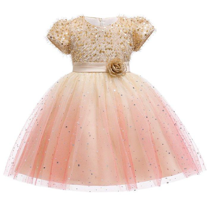 •*~ 辣媽咪衣飾小舖 ~*•❤童裝系列❤K970443韓版大童夏款甜美清新時尚蓬蓬蕾絲亮片可愛公主禮服公主洋裝