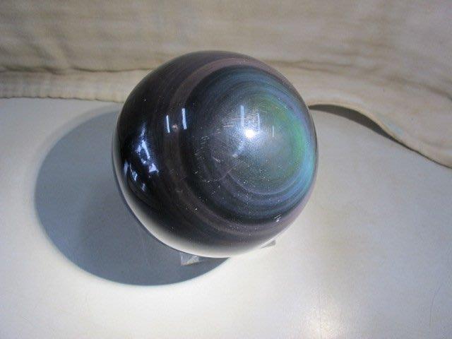 二手舖 NO.3128 天然玉石 瑪瑙天眼水晶球 非黑曜石 居家擺件