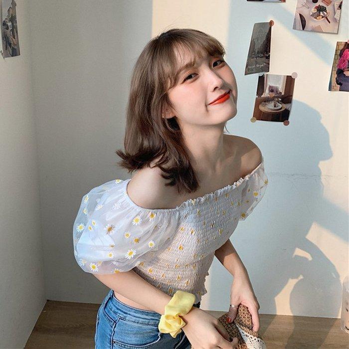 韓版 平口T恤 一字肩 性感 一字肩 領小雛菊網紗短袖露臍襯衫泡泡袖上衣女裝