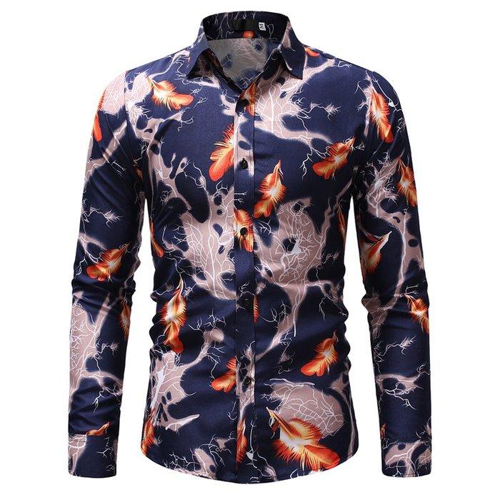 『X-男人館』 WS11 新款3D數碼印花襯衫 男士休閒修身長袖襯衫 拼接襯衫 圖案襯衫NRG2940