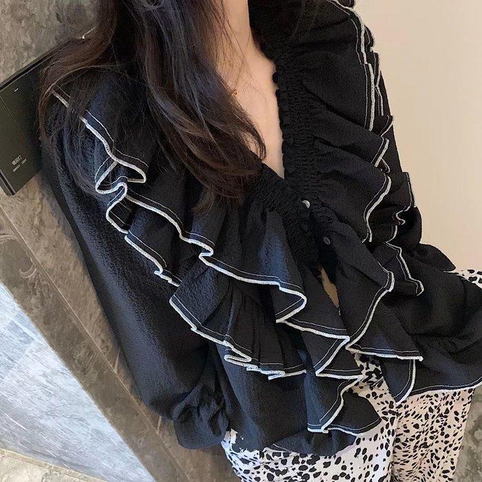 PapaDarling 20SSw 獨家設計款 V領泡泡袖俏皮長袖襯衫