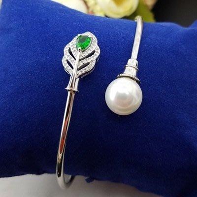 珍珠 手 環 925純銀手鍊-10mm綠葉鑲鑽母親節情人節禮物女飾品73qn23[獨家進口][巴黎精品]