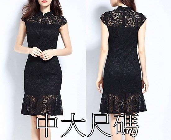 特大尺碼424 春款大碼新款旗袍裙氣質修身蕾絲顯瘦連衣裙