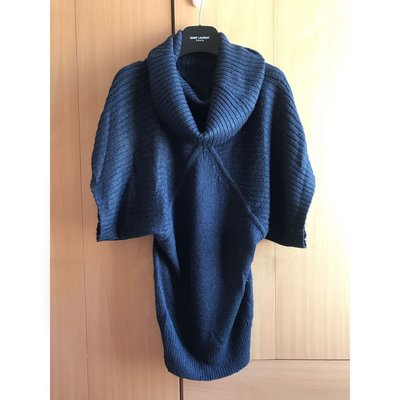 Mango beautiful navy blue cable knit top dress blouse 外國超靚閃線寶藍色大暖針織泡泡領冷裙 襯衫