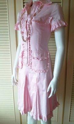 Moschino 淺粉紅純棉荷葉滾邊短袖洋裝