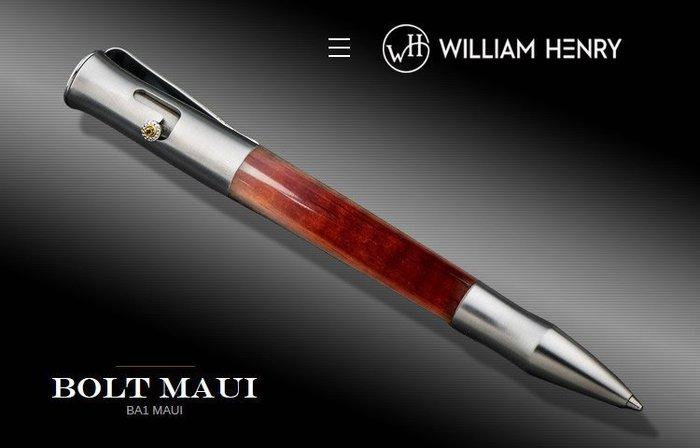 【angel 精品館 】WilliamHenry 威廉亨利BOLT MAUI 夏威夷Koa相思木 手工筆