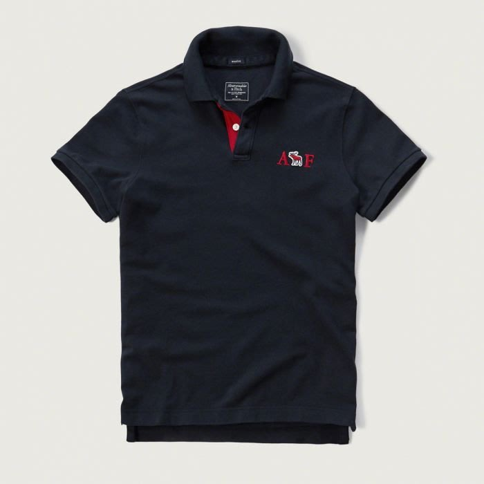 美國百分百【Abercrombie & Fitch】Polo衫 AF 短袖 麋鹿 男 素面 深藍 上衣 S號 H055