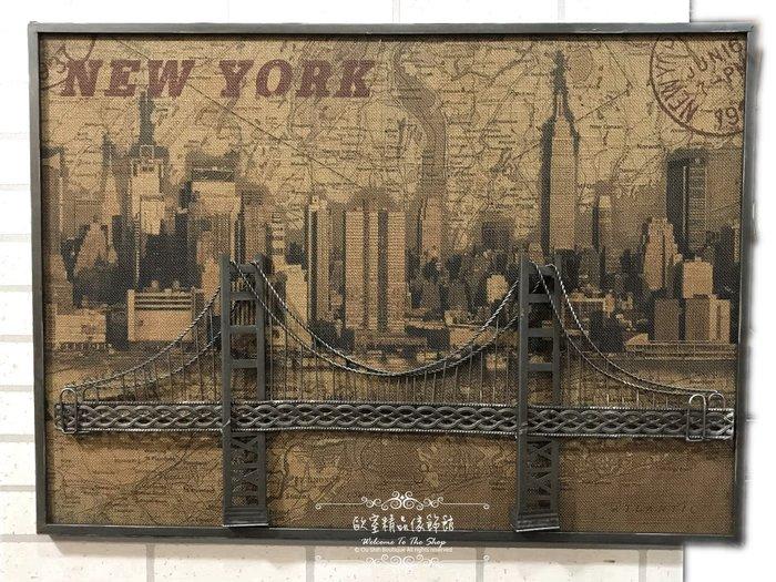 ~*歐室精品傢飾館*~美式鄉村 復古 loft 工業 麻布 掛畫 掛圖 立體 壁飾 紐約 布魯克林橋 布置~新款上市~