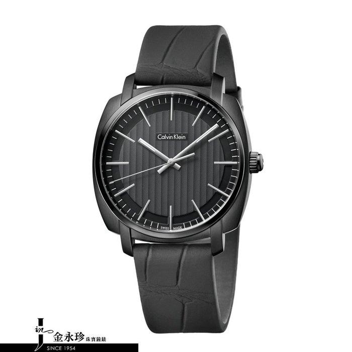 金永珍珠寶鐘錶*CK手錶Calvin Klein 原廠真品 K5M314C1 金宇彬配戴錶  廣告主打款 黑面皮錶帶*