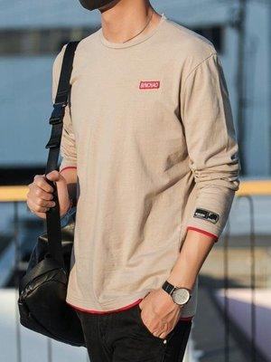 長袖t恤男春秋季2018新款韓版潮流圓領衛衣服男士純棉體恤打底衫