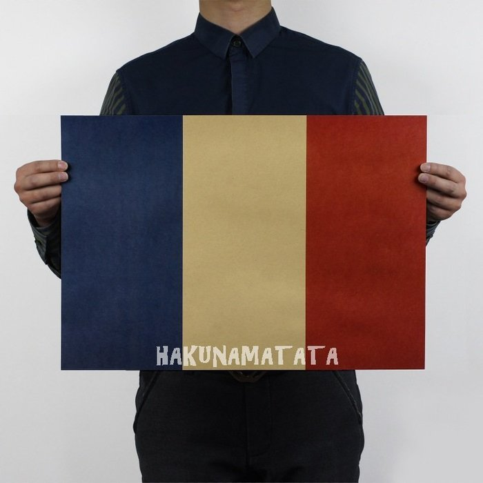 ~貼貼屋~法國 國旗 世足冠軍 藍白紅 懷舊復古 牛皮紙海報 壁貼 店面裝飾  567