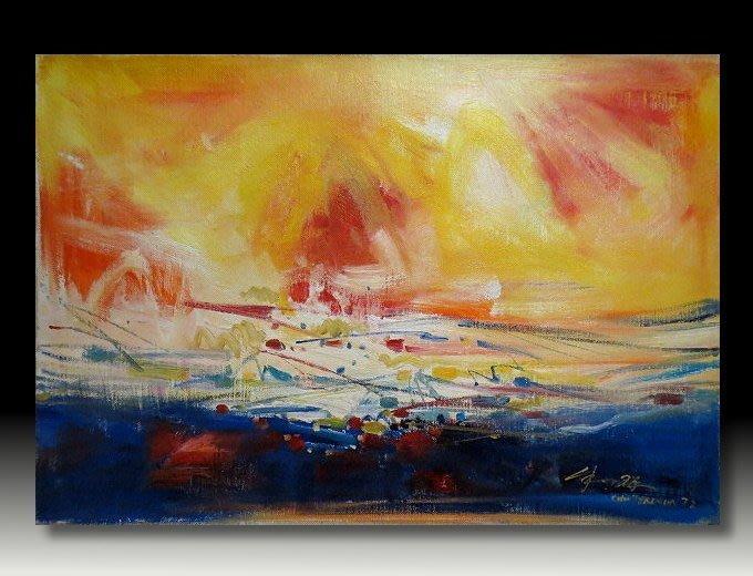 【 金王記拍寶網 】U990 朱德群 款 抽象 手繪原作 厚麻布油畫一張 罕見 稀少 藝術無價~