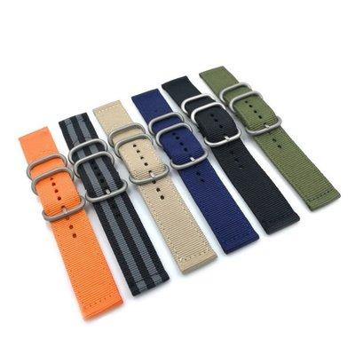 錶帶屋 18mm20mm22mm24mm 加粗銀鋼圈尼龍錶帶帆布帶(代用)精工 米動青春 三星 TRIWA  TIMEX