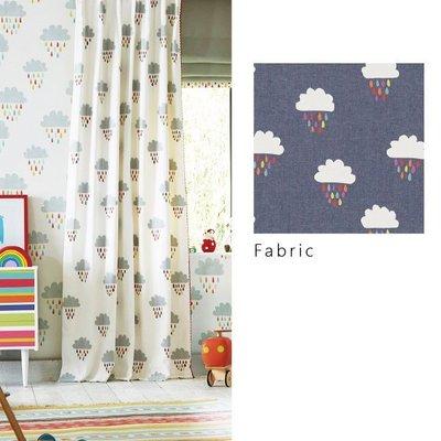 【夏法羅 傢飾】童趣‧彩虹雲朵刺繡窗簾布品 英國進口期貨 印花布窗簾 羅馬簾 BG-1659