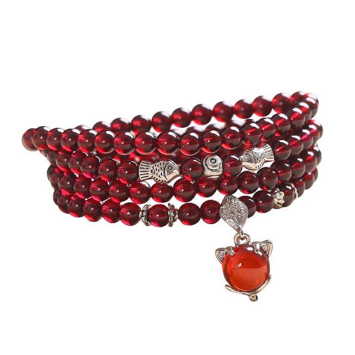 小花精品店-天然石榴石散珠子手鏈項鏈女飾品純酒紅色水晶收藏級8A半成品配件