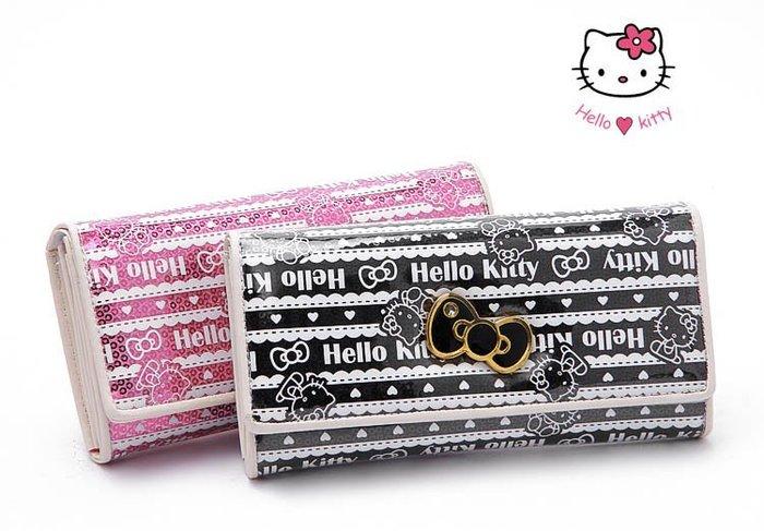 ☆°╮VS流行館╭°☆日本進口保証三麗鷗授權正品◎聖誕節禮物Hello Kitty多夾層長皮夾200元(黑色)
