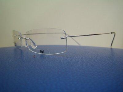 吉新益眼鏡公司-MiNiMA法國手工框-世界最輕-完全無螺絲設計-B-鈦.材質亮銀 904