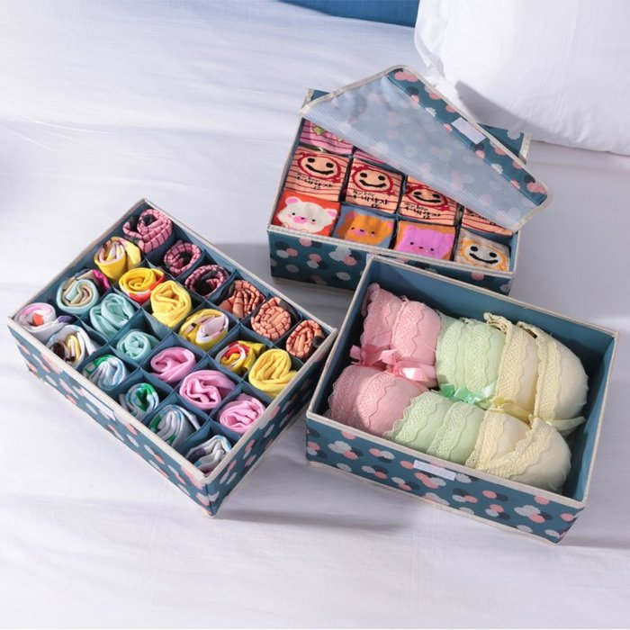 簡約潮流創意精緻內衣收納盒布藝牛津布家用有蓋收納箱放文胸襪子整理箱內褲收納盒
