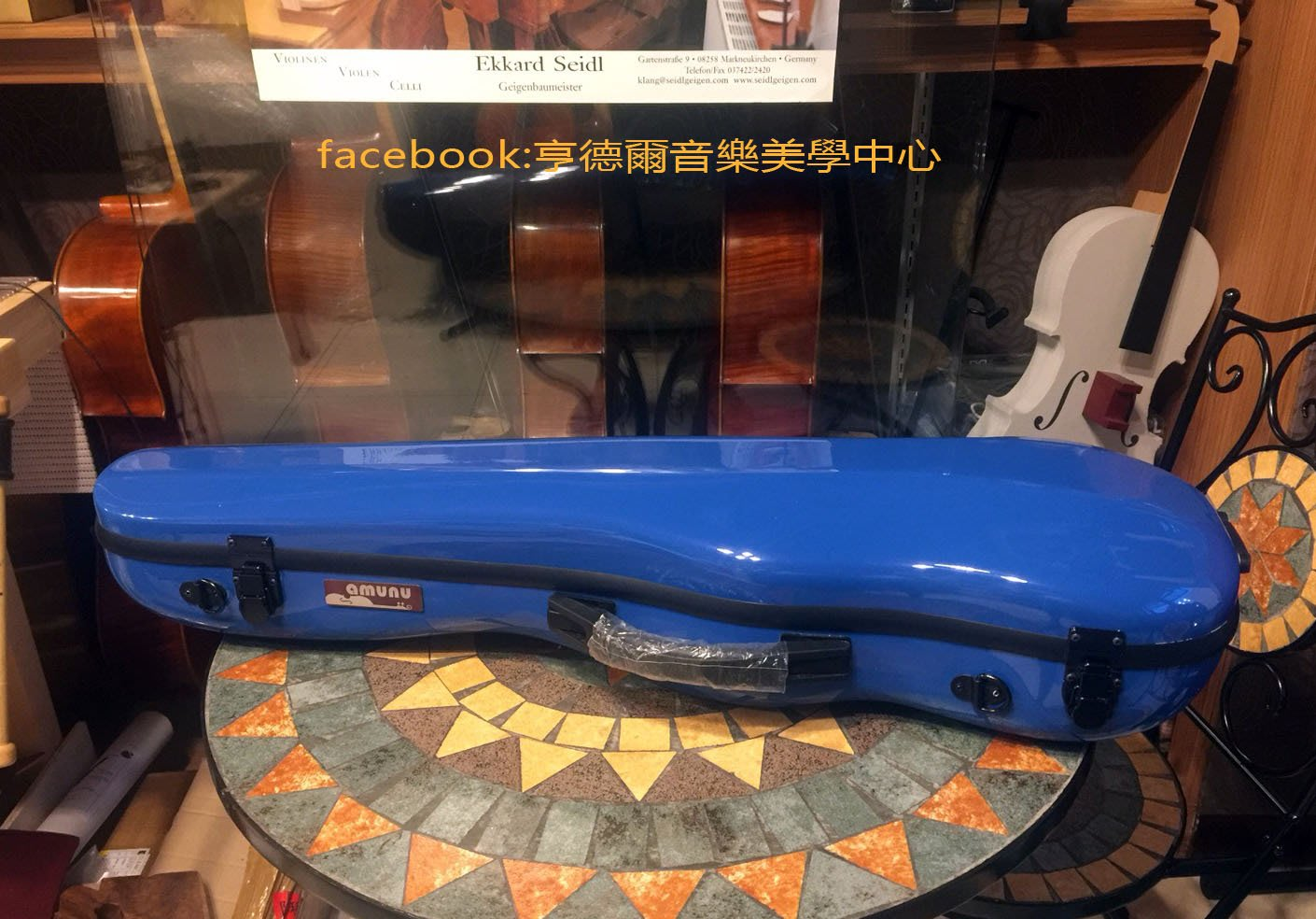 {亨德爾音樂美學-台灣安畝提琴工作室}台灣amunu小提琴盒(Diamond)寶藍