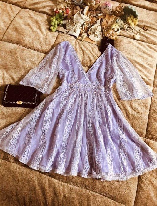 夢幻紫滿載流金蕾絲網紗珍珠女神極美洋裝
