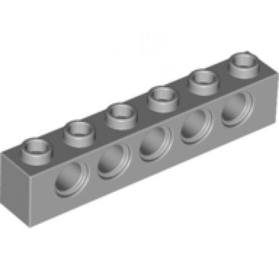 3894-Light Bluish Gray Technic, Brick 1 x 6 with Holes