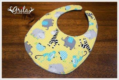 ♥grita's handmade♥純棉手作嬰幼兒圍兜兜/領巾/口水巾/三角巾/彌月禮—歡樂動物園