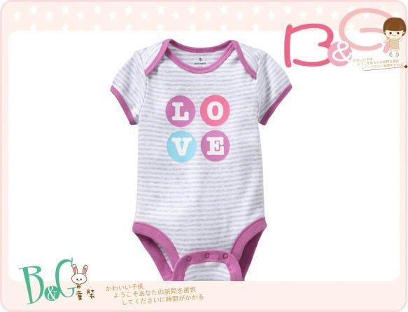 【B& G童裝】正品美國進口OLD NAVY字樣LOVE灰色條紋粉紅邊短袖連身衣18-24mos