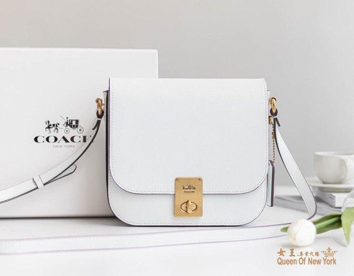 【紐約女王代購】COACH 2080-610 2020新款 全皮馬鞍包 白色豆腐包 斜跨包 美國代購