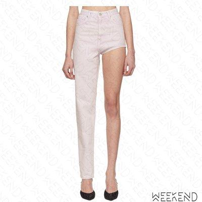 【WEEKEND】 PUSHBUTTON 牛仔 不對稱 長短褲 牛仔褲 白色 折扣