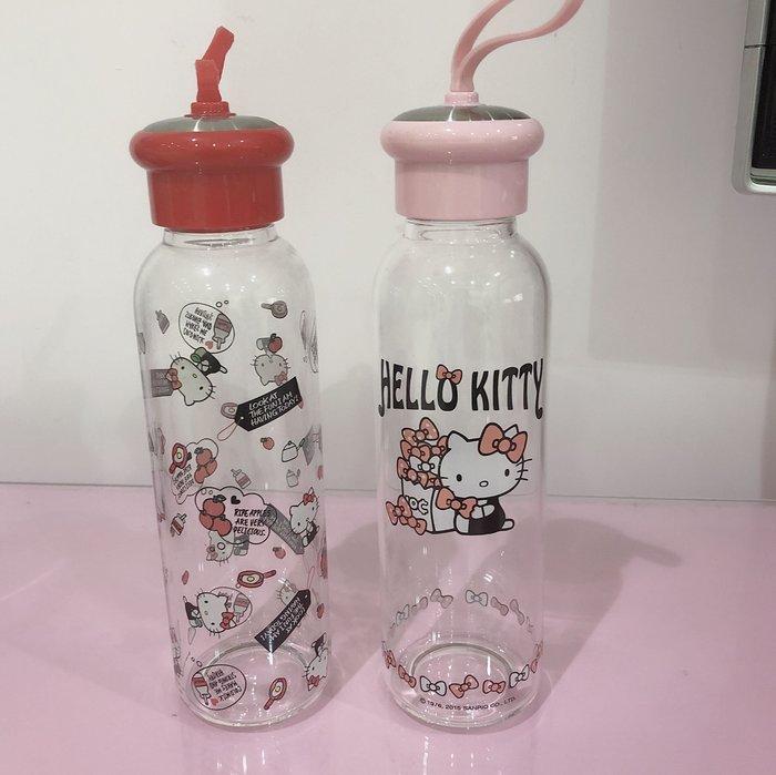 《東京家族》透明 Kitty耐熱 手提 玻璃水壺/冷水壺 附套 二選一 粉色 紅色
