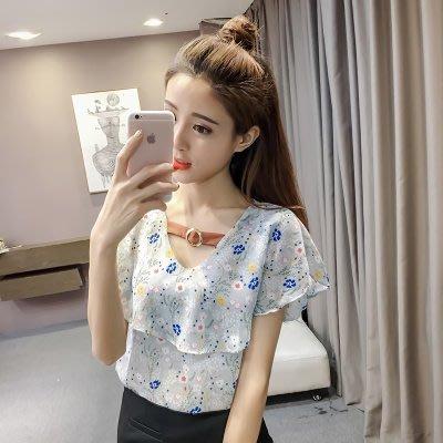 夏季女碎花短袖V领镂空雪纺衫韩版宽松甜美短款喇叭袖娃娃衫上衣