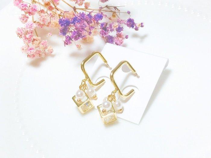 《現貨》韓國❤️極致 個性 幾何 水鑽 珍珠 垂墜 方框 C圈耳環 / 夾式 耳環【Verina's韓系美飾】