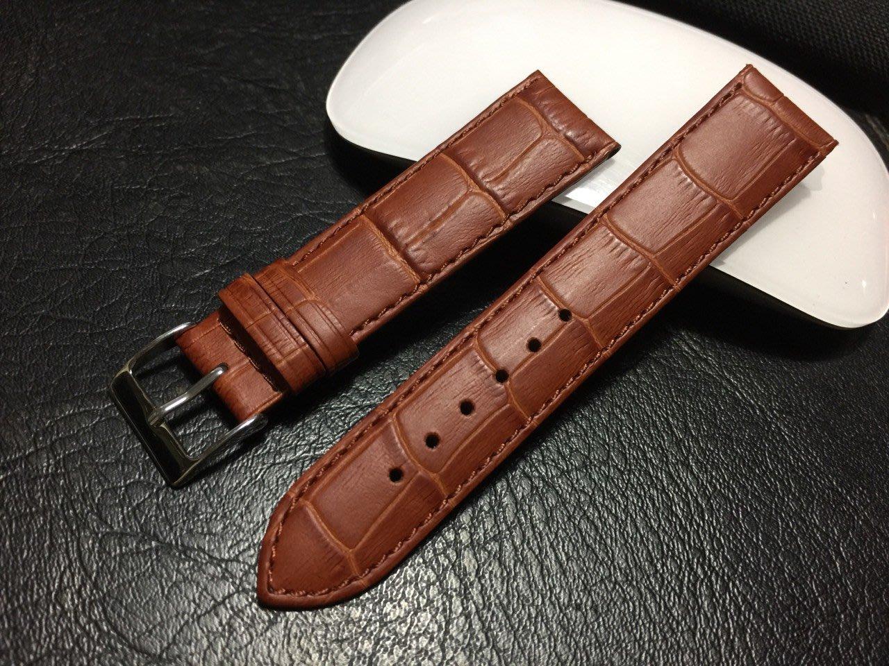20mm棕色 防水 進口皮料啞光高質感替代oris ck armani seiko原廠錶帶真皮製錶帶