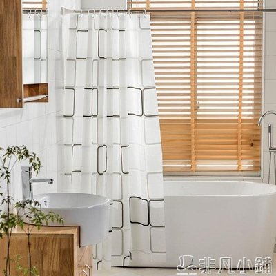 浴簾 加厚浴簾套裝免打孔防水防霉浴簾布衛生間浴室隔斷簾浴罩JD   全館免運