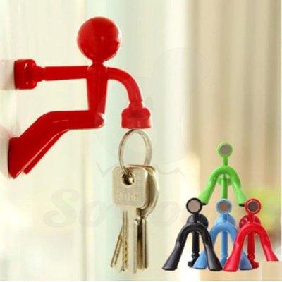 掛鉤強力磁吸牆上裝飾品立體小人鑰匙收納器冰箱貼掛件(2個顏色任選)_☆[好裝飾_SoGoods優購好]☆