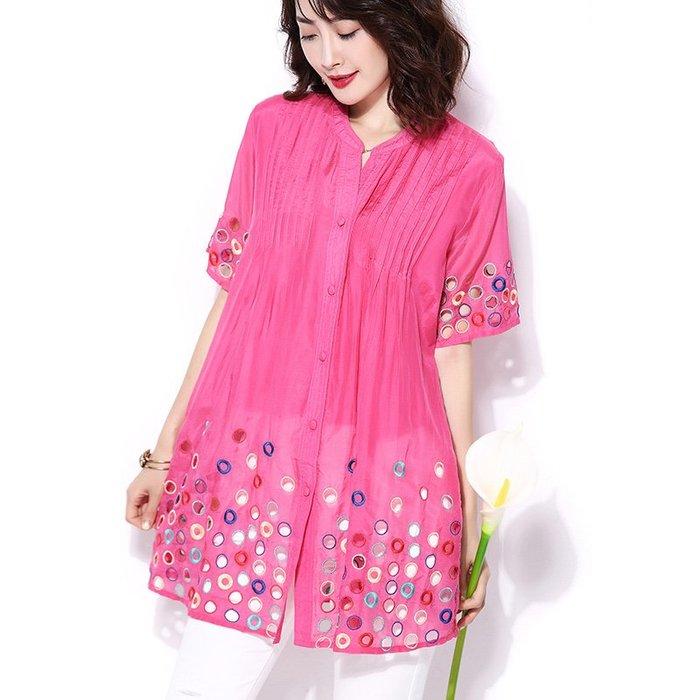 創意 民族風時尚襯衫女新款夏季民族風刺繡女神范上衣寬松顯瘦減