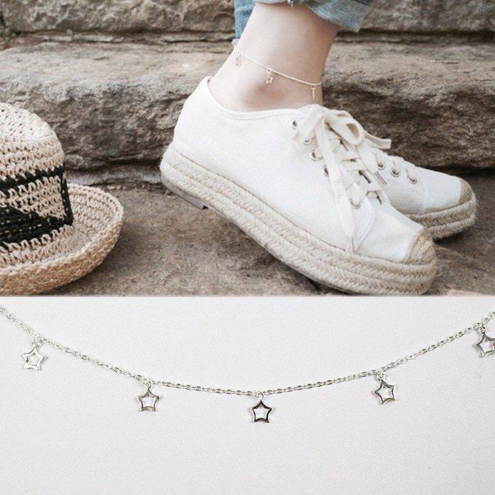 《現貨》 腳鍊 925純銀 手工鏤空星星流星足鏈 唯美個性腳鍊腳飾 生日禮物 情人禮 附禮盒 銀布 Baonizi
