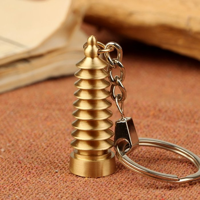 聚緣閣黃銅9層文昌塔鑰匙環扣掛件裝飾品學業事業送學子工藝品擺多買優惠喲