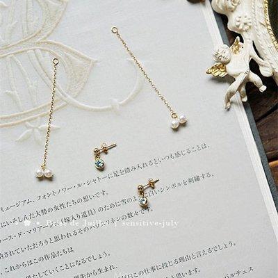 SJ93-法式手工輕珠寶-淺藍櫻桃。淺藍色鋯石+淡水珍珠耳環 可改耳夾式