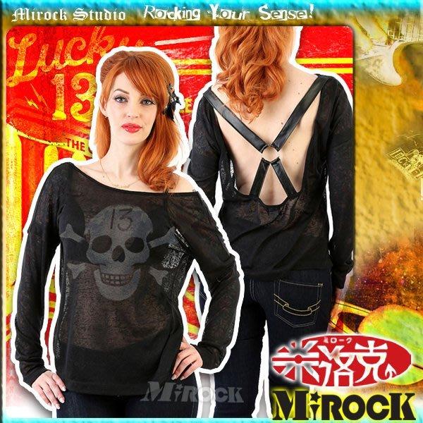 MIROCK米洛克》限時特賣!美國Lucky13㊣微笑骷髏露背交叉皮帶半透明針織薄棉黑色長袖上衣罩衫|日本視覺系風|限量