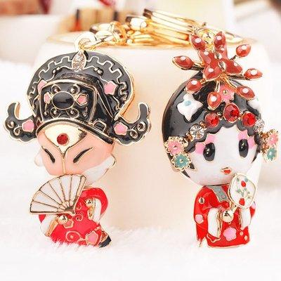 千禧禧居~古代鑰匙扣掛件中國風復古掛飾包包小配件可愛花旦小生情侶創意