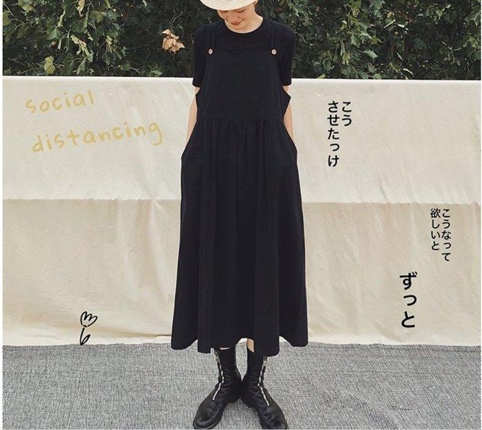 【鈷藍家】日雜風原創設計慵懶風黑色吊帶裙女時髦減齡大口袋褶皺日系背帶A字連身裙