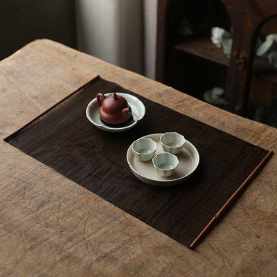 中式茶具 茶盤置物 純手工竹編大漆竹茶席湘妃竹席禪意茶墊竹制細絲竹簾茶道桌旗茶具