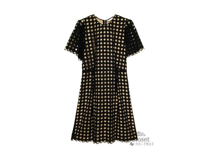 My Closet 二手名牌 CHLOE 高質感粉膚色底黑洞洞蕾絲洋裝
