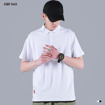 東家style 夏季純色簡約復古假兩件POLO衫男士休閒寬松帥氣潮流短袖